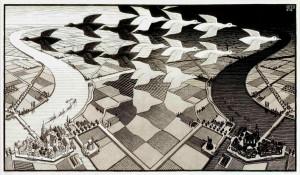 M. C. Escher, Giorno e notte, xilografia, 1938.
