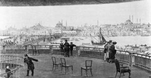 Jules-Arsène Garnier (1847 - 1889) Veduta dalla piattaforma con spettatori e un dettaglio del Panorama di Costantinopoli. Esibito a Copenhagen nel 1882.