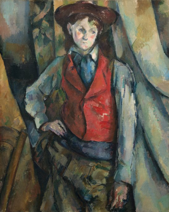 Paul Cézanne (French, 1839 - 1906 ), Boy in a Red Waistcoat, 1888-1890, oil on canvas, Collection of Mr. and Mrs. Paul Mellon, in Honor of the 50th Anniversary of the National Gallery of Art
